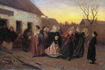 Василий Перов «Накануне девичника. Проводы невесты из бани», 1870 год