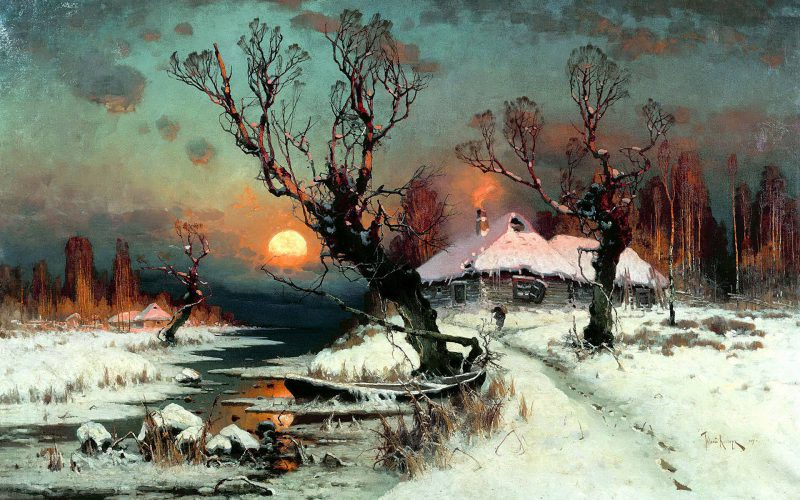 Юлий Клевер «Закат солнца зимой», 1897 год