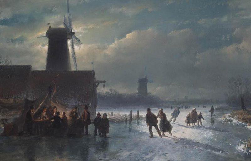 Андреас Шелфхаут «Зимняя сцена с закусочной ночью», фрагмент
