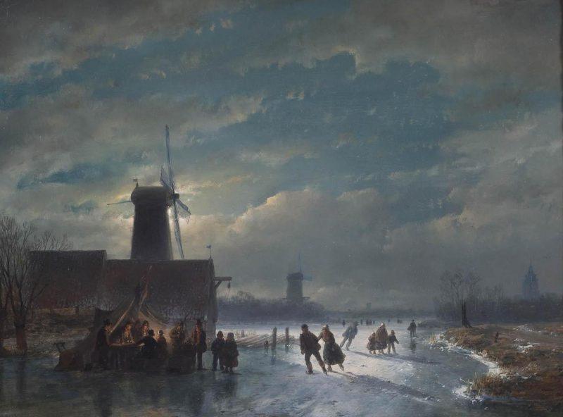 Андреас Шелфхаут «Зимняя сцена с закусочной ночью», 1849 год