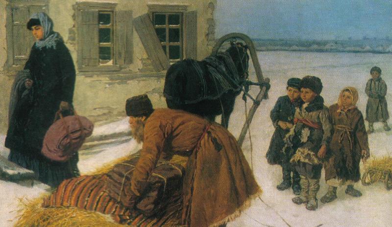 Константин Трутовский «Приезд учительницы», фрагмент