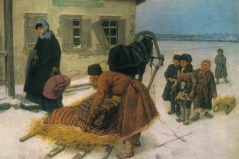 Константин Трутовский «Приезд учительницы», 1889 год
