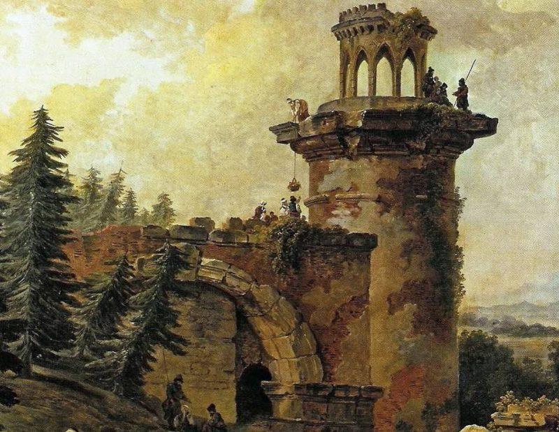 Юбер Робер «Башня-руина в Царском Селе», фрагмент