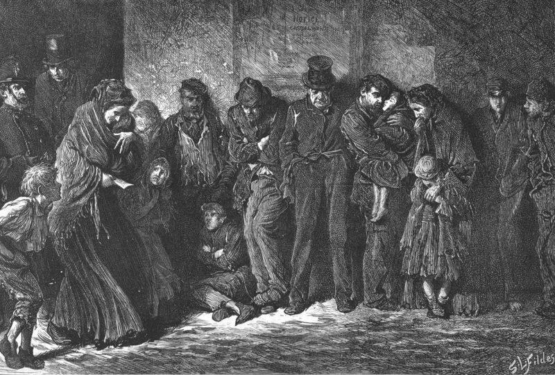Сэмуэль Люк Филдс гравюра «Бездомные и голодные», 1869 год