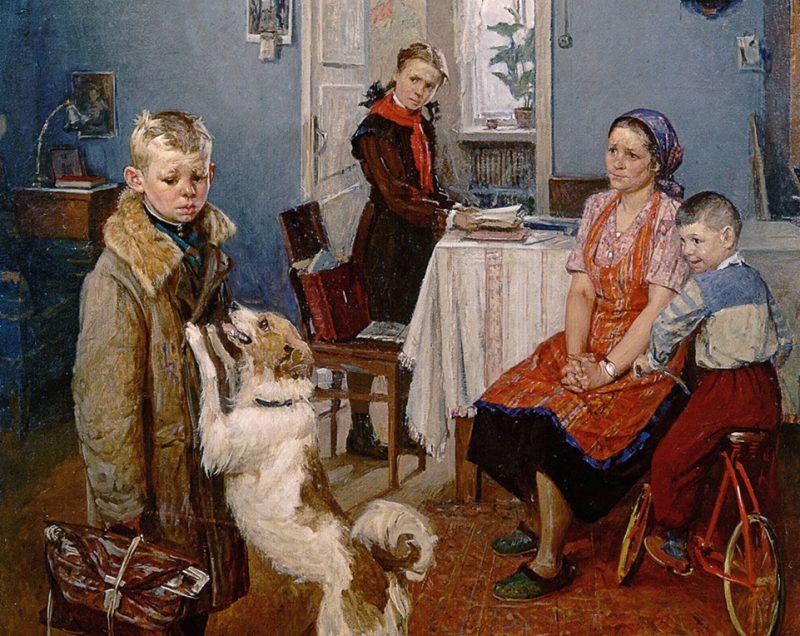 Фёдор Решетников «Опять двойка», фрагмент