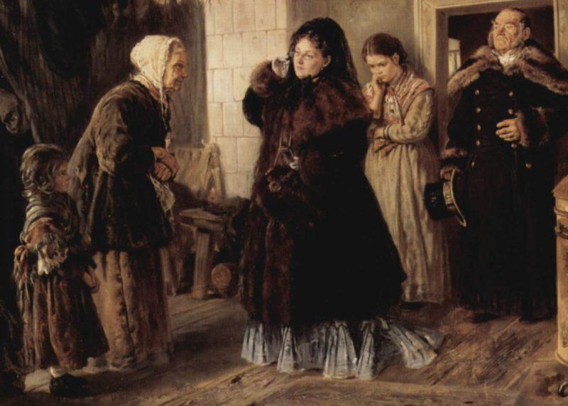 Владимир Маковский «Посещение бедных», фрагмент
