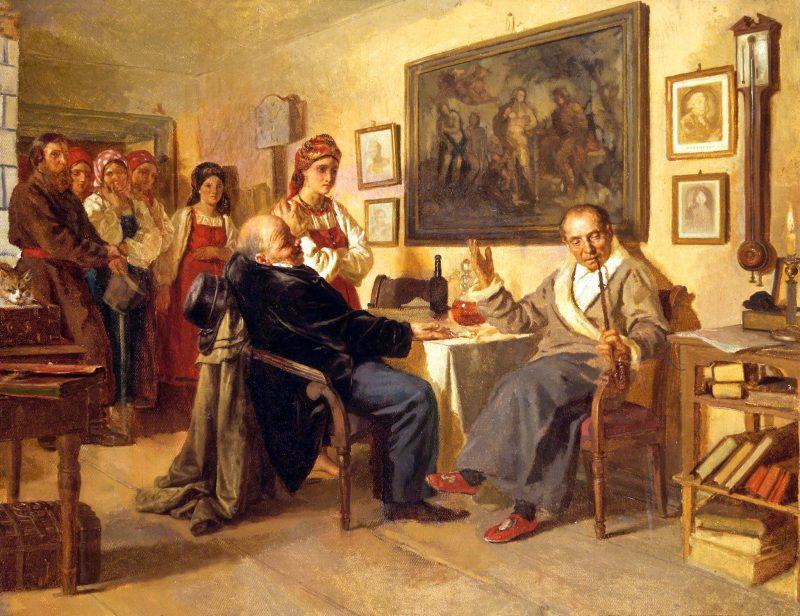 Николай Васильевич Неврев «Торг. Сцена из крепостного быта. Из недавнего прошлого», 1866 год