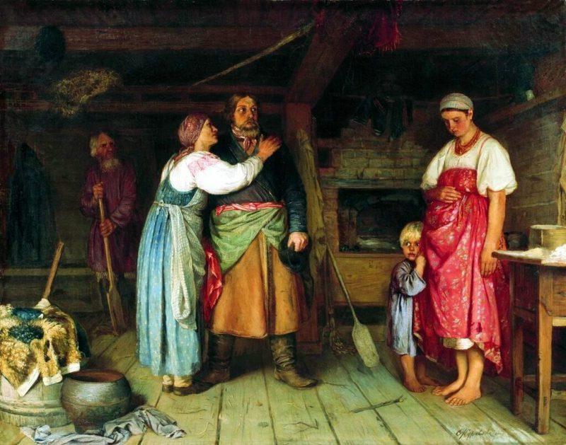 Фирс Журавлёв «Приезд извозчика на родину», 1868 год