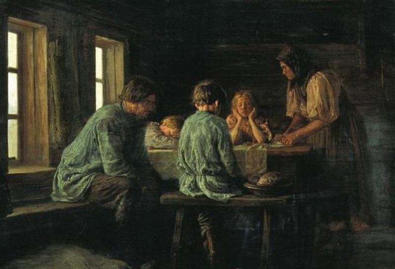 Максимов Василий Максимович «Бедный ужин», фрагмент