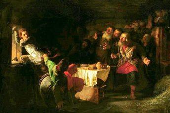 Григорий Мясоедов «Бегство Григория Отрепьева из корчмы на литовской границе», 1862 год