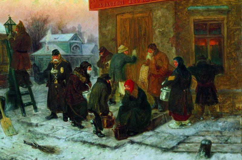 Леонид Соломаткин «Утро у трактира», фрагмент