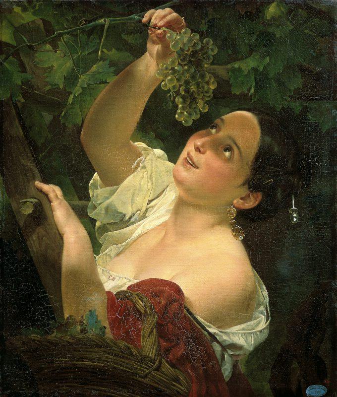 Карл Брюллов «Итальянский полдень (Итальянка, снимающая виноград)», 1827 год