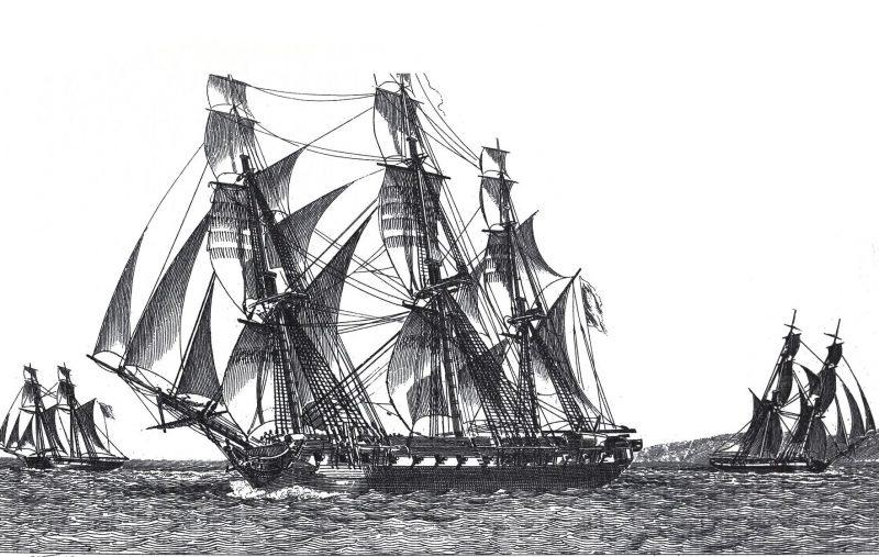 Фрегат «Медуза». Гравюра Жан-Жерома Божана, 1816 год