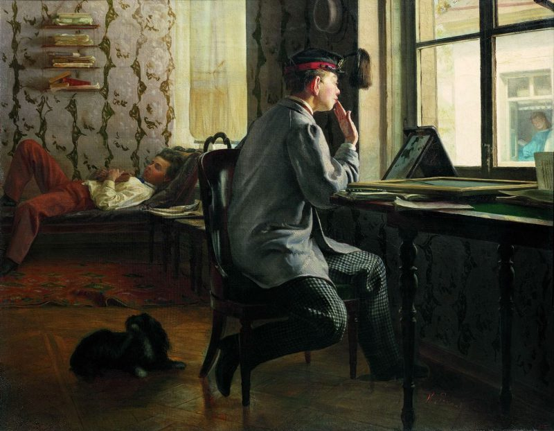 Илья Репин «Приготовление к экзамену», 1864 год