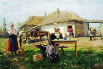 Владимир Маковский «Приезд учительницы в деревню», 1897 год