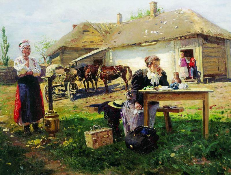Владимир Маковский «Приезд учительницы в деревню», фрагмент