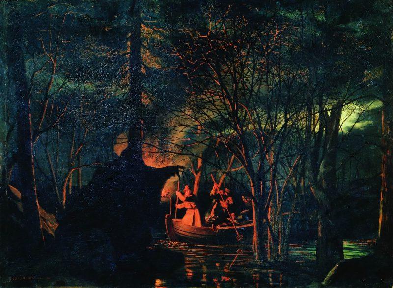 Леонид Соломаткин «Рыбная ловля острогой ночью», 1867 год