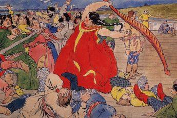 Андрей Рябушкин «Девушка-чернавушка побивает мужиков новгородских», 1898 год