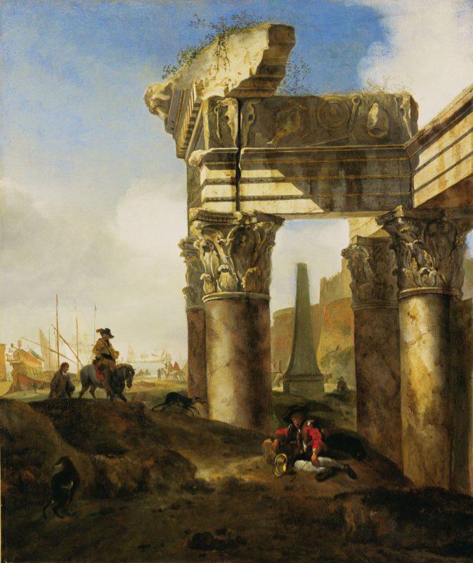 Ян Баптист Веникс «Римский пейзаж с руинами и гаванью», 17 век