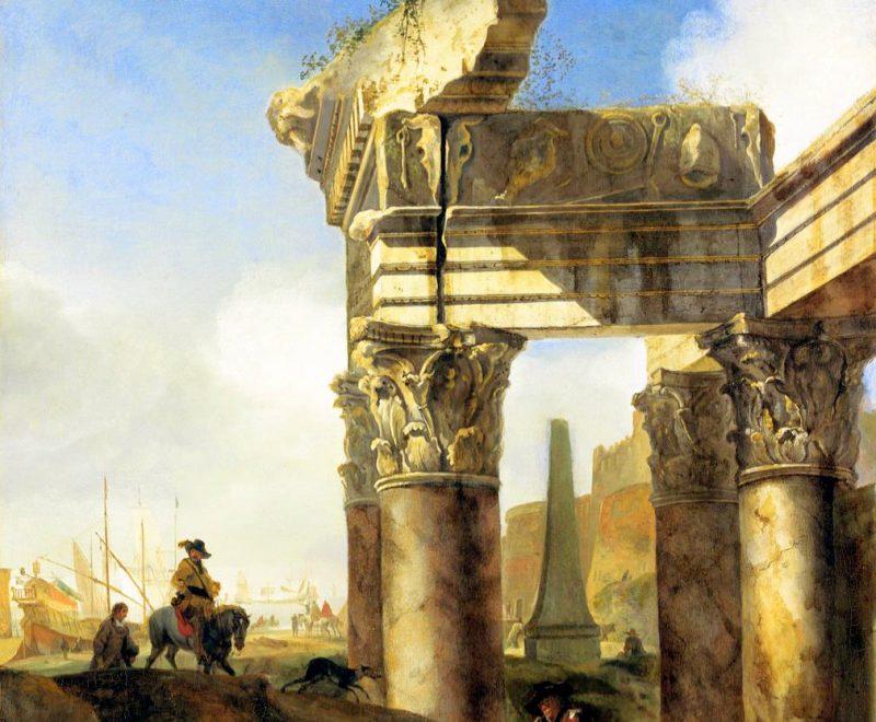 Ян Баптист Веникс «Римский пейзаж с руинами и гаванью», фрагмент