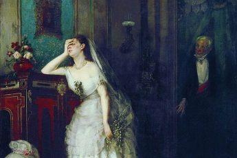Почему эта невеста не выглядит счастливой и пребывает в шоковом состоянии Сегодня На этой картине мы видим молодую женщину в подвенечном платье, которая совсем не выглядит счастливой. Судя по наряду красавицы, она только что вышла замуж, однако она настолько не рада этому событию, что находится в полуобморочном состоянии. Давайте попробуем разобраться, что же здесь происходит? Фирс Журавлев «После венчания», 1880 год Картину написал Фирс Журавлёв, который не был равнодушен к бесправному положению женщин в то время и создал на эту тему много работ. Полотно называется «После венчания» и рассказывает нам одну из историй неравного брака, который был очень распространён среди современников художника. На картине мы видим молодожёнов, хотя молодой из них можно назвать только невесту. Стоящий в дверях жених довольно стар, большая разница в возрасте между супругами очевидна. Женщина находится в отчаянии оттого, что ей придётся сейчас провести ночь с неприятным стариком, который стал её мужем. С ним молодой красавице придётся провести лучшие свои годы. Пожилой супруг уже открыл дверь и готов войти в опочивальню. На его лице прослеживается нескрываемая похоть, старика не волнуют желания чувства его жены. Он уверен в себе из-за того, что баснословно богат, поэтому не сомневается в том, что молодая жена никуда от него не денется. Фирс Журавлёв «После венчания», фрагмент