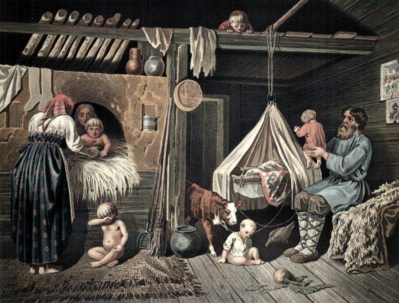 Егор Покровский «Крестьянские дети зимой в избе», 1884 год