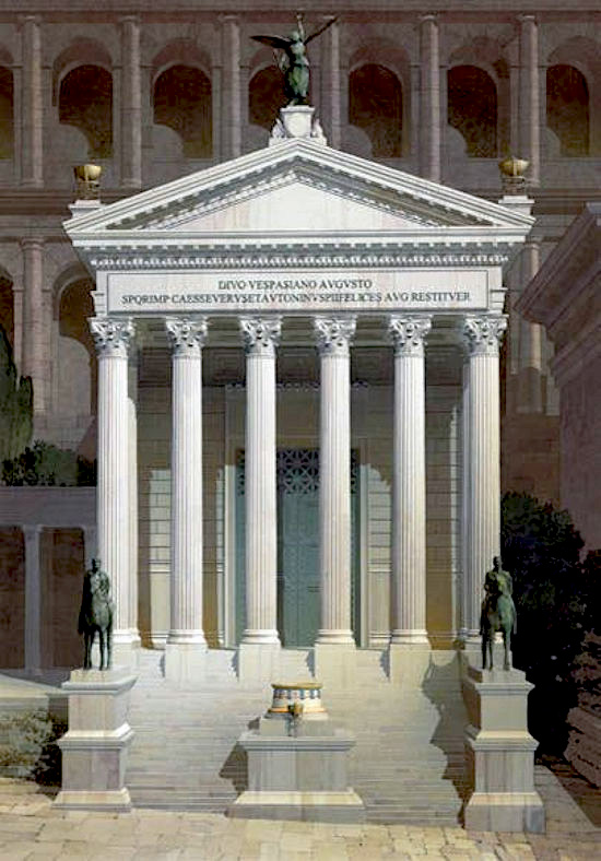 Примерно так выглядел Храм Веспасиана и Тита изначально