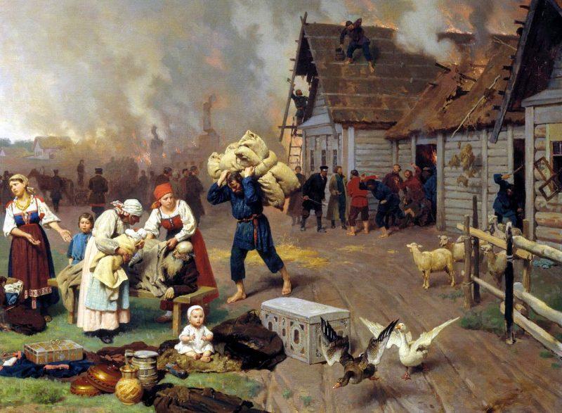 Николай Дмитриев-Оренбургский «Пожар в деревне», фрагмент