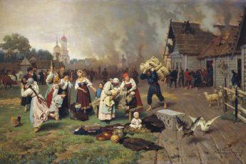 Николай Дмитриев-Оренбургский «Пожар в деревне», 1879 год
